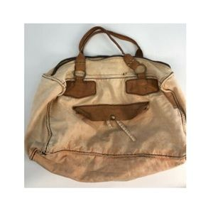 Free People Pink Leather Duffel Canvas Boho Bag L